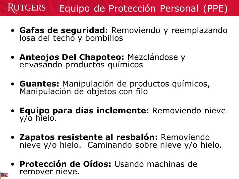 Gafas de seguridad: Removiendo y reemplazando losa del techo y bombillos Anteojos Del Chapoteo: Mezclándose y envasando productos químicos Guantes: Ma