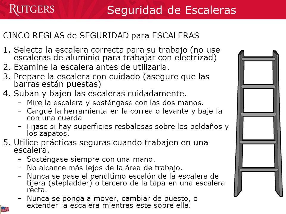 Seguridad de Escaleras CINCO REGLAS de SEGURIDAD para ESCALERAS 1.Selecta la escalera correcta para su trabajo (no use escaleras de aluminio para trab