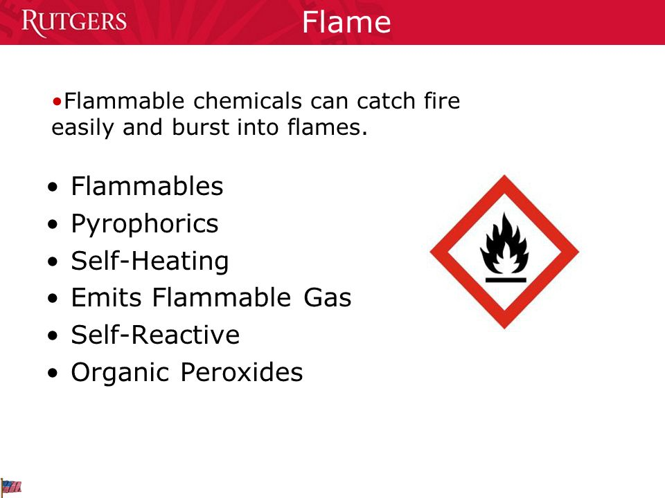 Flame Flammables Pyrophorics Self-Heating Emits Flammable Gas Self-Reactive Organic Peroxides Flammable chemicals can catch fire easily and burst into