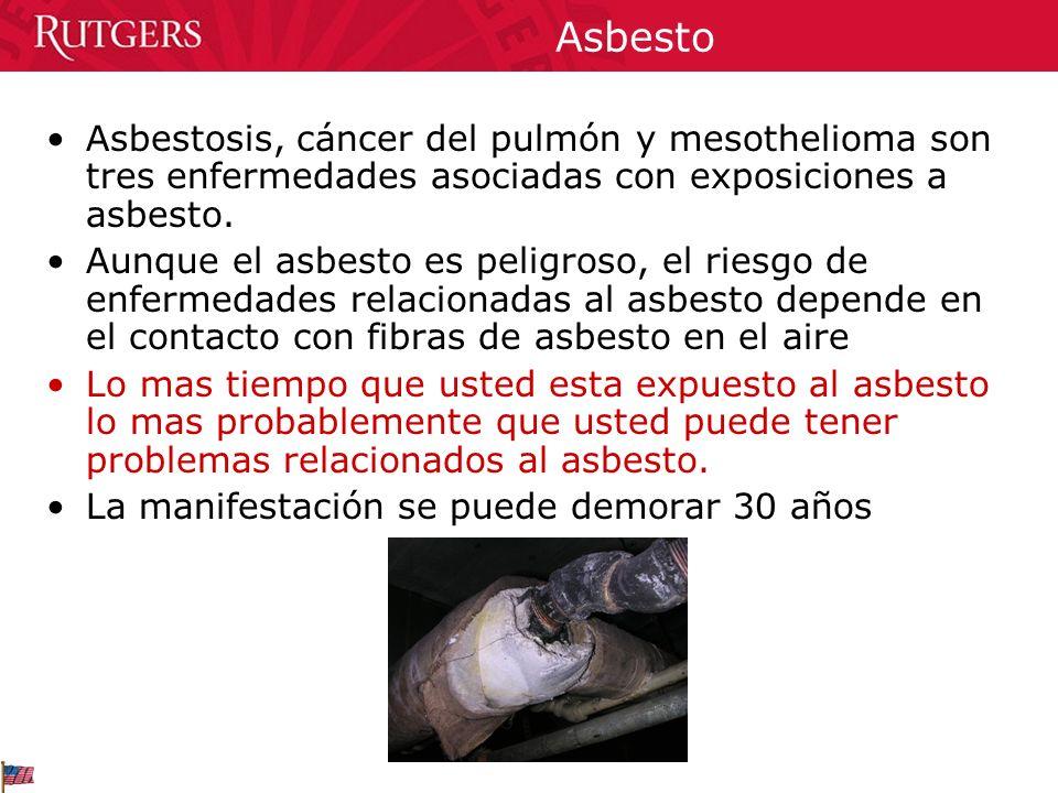 Asbesto Asbestosis, cáncer del pulmón y mesothelioma son tres enfermedades asociadas con exposiciones a asbesto. Aunque el asbesto es peligroso, el ri
