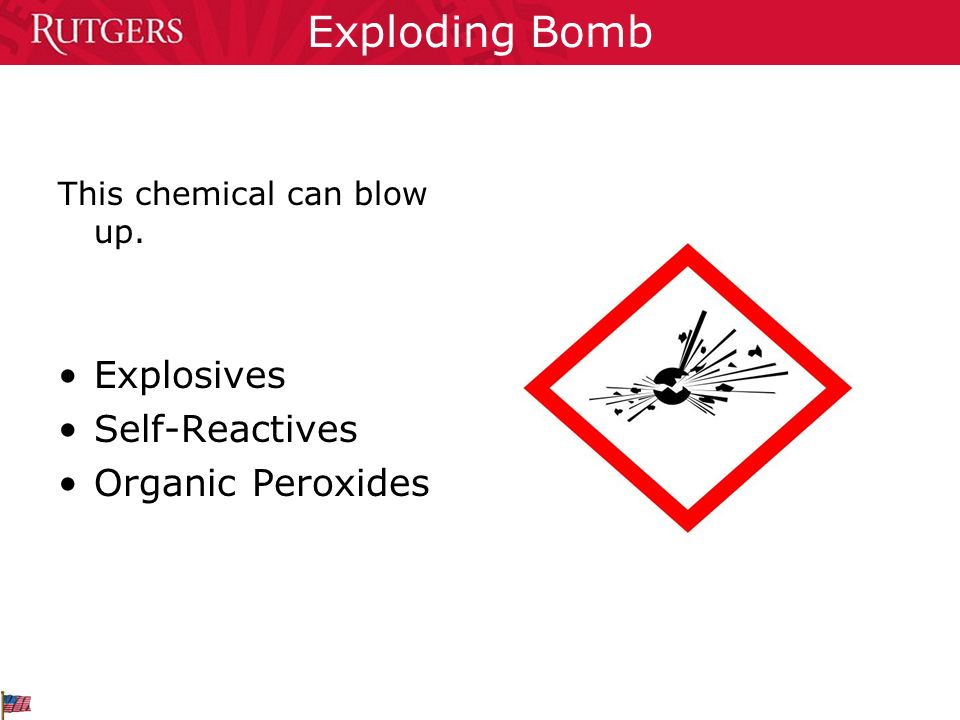 Exploding Bomb This chemical can blow up. Explosives Self-Reactives Organic Peroxides