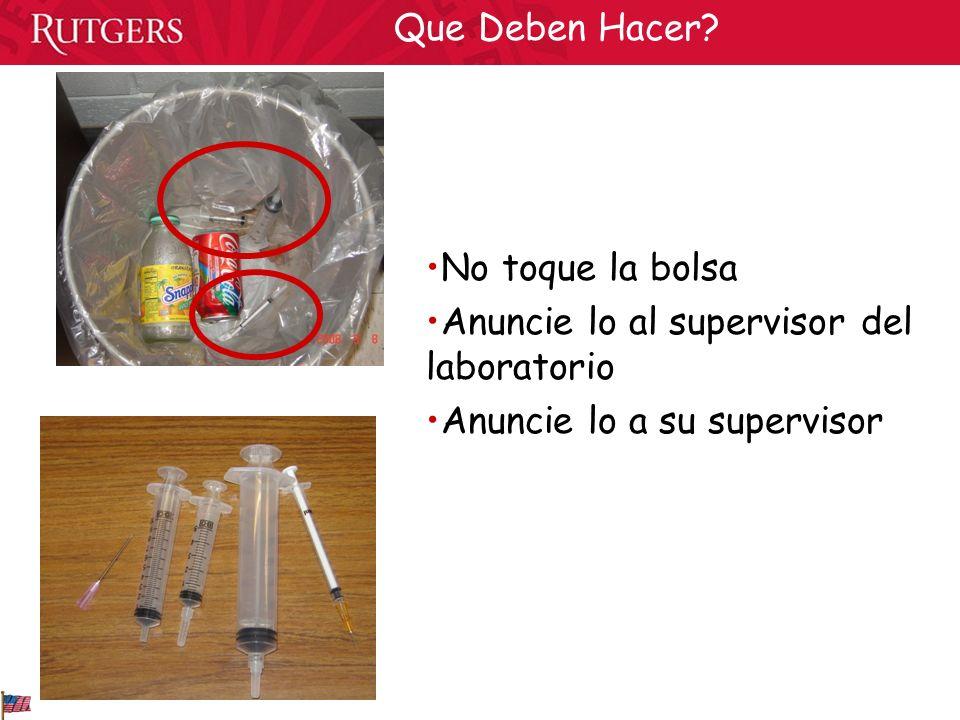 No toque la bolsa Anuncie lo al supervisor del laboratorio Anuncie lo a su supervisor Que Deben Hacer?