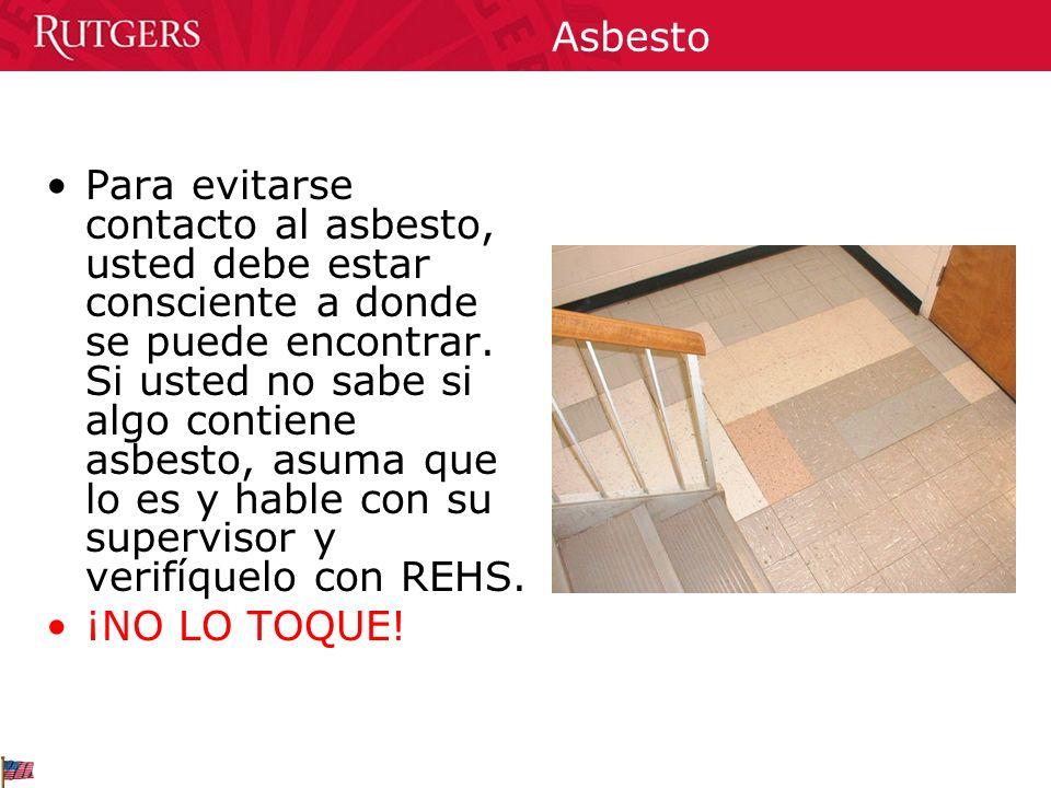 Asbesto Si usted identifica material dañado que sospechan o contiene Asbesto: Reporté la situación inmediatamente a su supervisor, quien debe llamar a REHS.