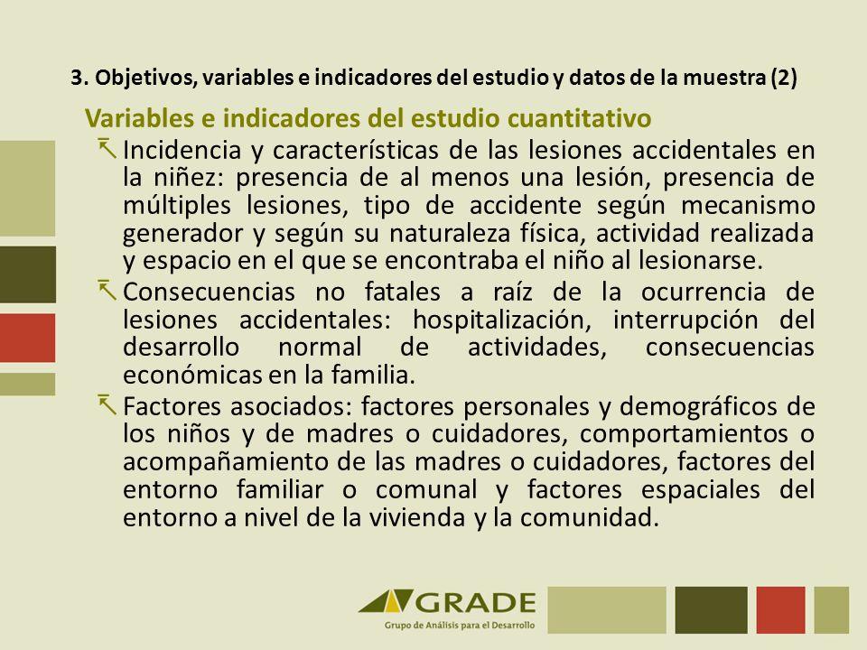 Variables e indicadores del estudio cuantitativo Incidencia y características de las lesiones accidentales en la niñez: presencia de al menos una lesi