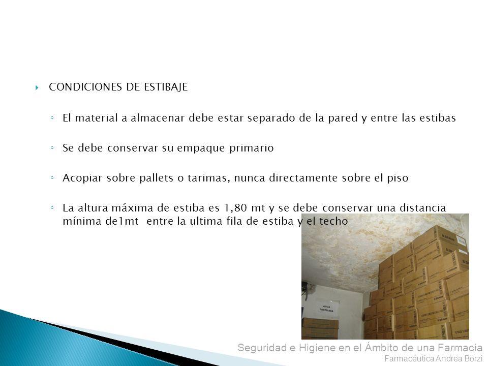 Seguridad e Higiene en el Ámbito de una Farmacia Farmacéutica Andrea Borzi CONDICIONES DE ESTIBAJE El material a almacenar debe estar separado de la p