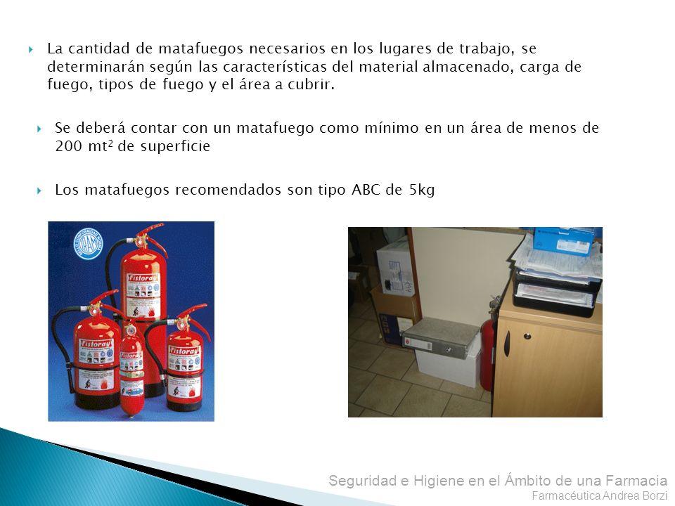 Seguridad e Higiene en el Ámbito de una Farmacia Farmacéutica Andrea Borzi La cantidad de matafuegos necesarios en los lugares de trabajo, se determin
