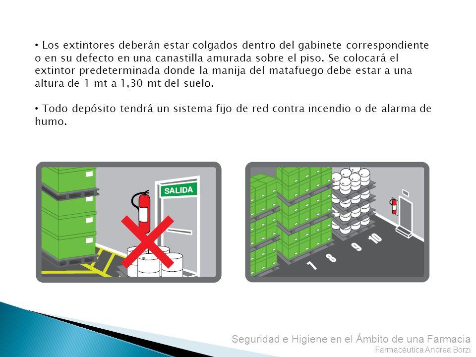 Seguridad e Higiene en el Ámbito de una Farmacia Farmacéutica Andrea Borzi Los extintores deberán estar colgados dentro del gabinete correspondiente o