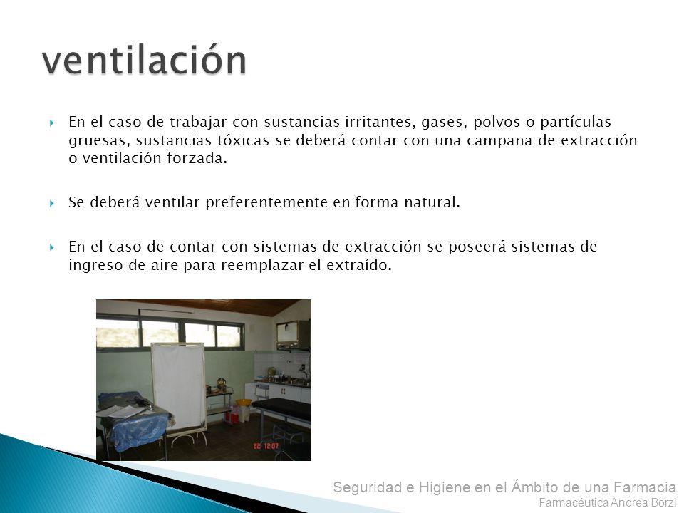 Seguridad e Higiene en el Ámbito de una Farmacia Farmacéutica Andrea Borzi En el caso de trabajar con sustancias irritantes, gases, polvos o partícula