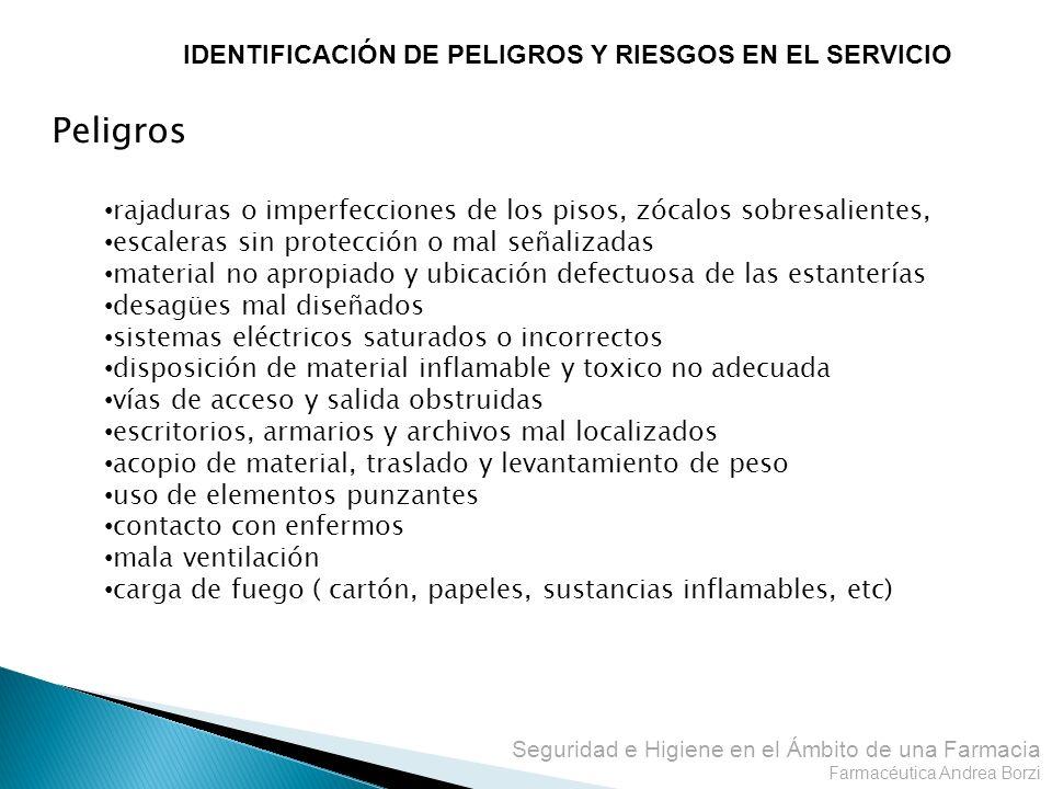 Seguridad e Higiene en el Ámbito de una Farmacia Farmacéutica Andrea Borzi IDENTIFICACIÓN DE PELIGROS Y RIESGOS EN EL SERVICIO Peligros rajaduras o im