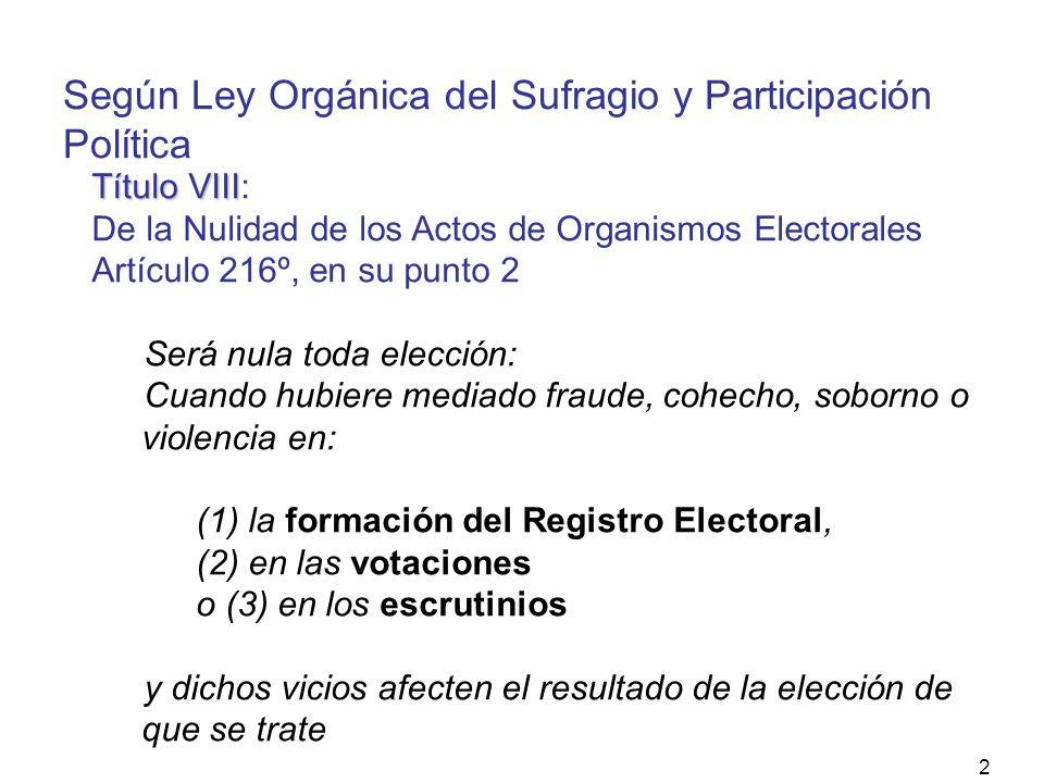 2 Título VIII Título VIII: De la Nulidad de los Actos de Organismos Electorales Artículo 216º, en su punto 2 Será nula toda elección: Cuando hubiere mediado fraude, cohecho, soborno o violencia en: (1) la formación del Registro Electoral, (2) en las votaciones o (3) en los escrutinios y dichos vicios afecten el resultado de la elección de que se trate Según Ley Orgánica del Sufragio y Participación Política