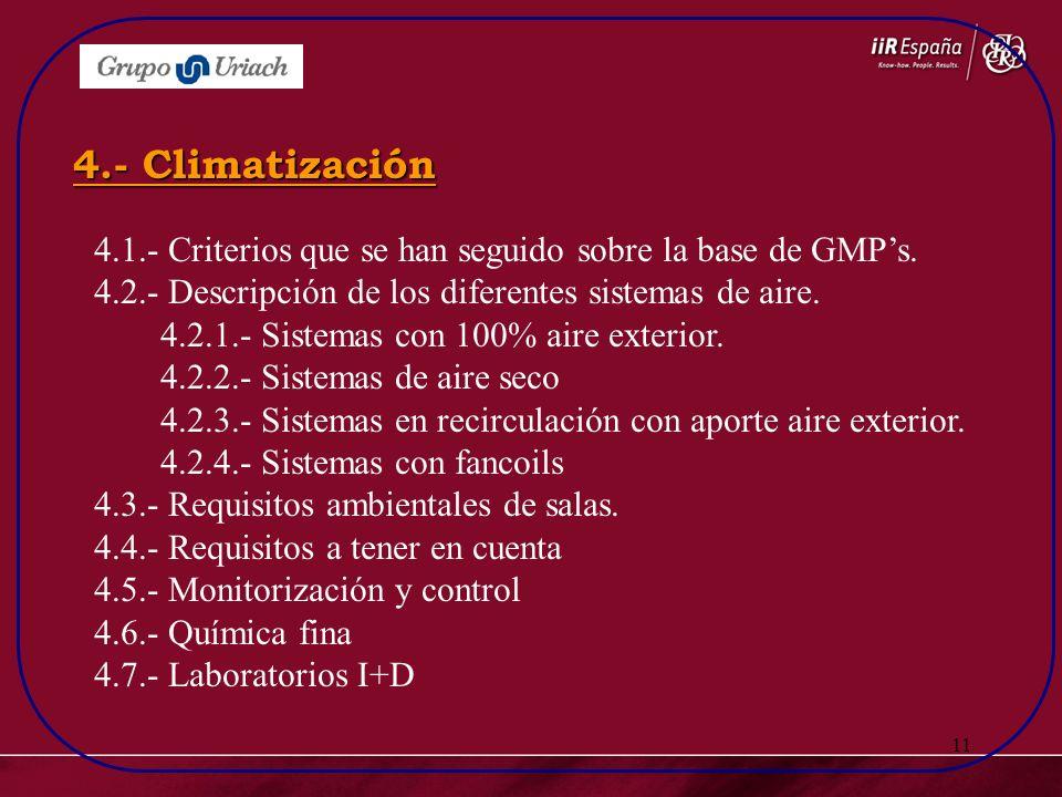 11 4.1.- Criterios que se han seguido sobre la base de GMPs. 4.2.- Descripción de los diferentes sistemas de aire. 4.2.1.- Sistemas con 100% aire exte