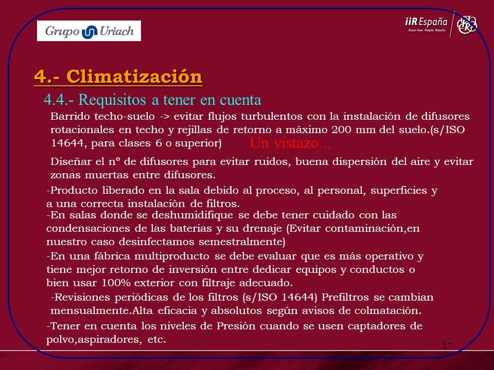 17 4.4.- Requisitos a tener en cuenta 4.- Climatización Barrido techo-suelo -> evitar flujos turbulentos con la instalación de difusores rotacionales