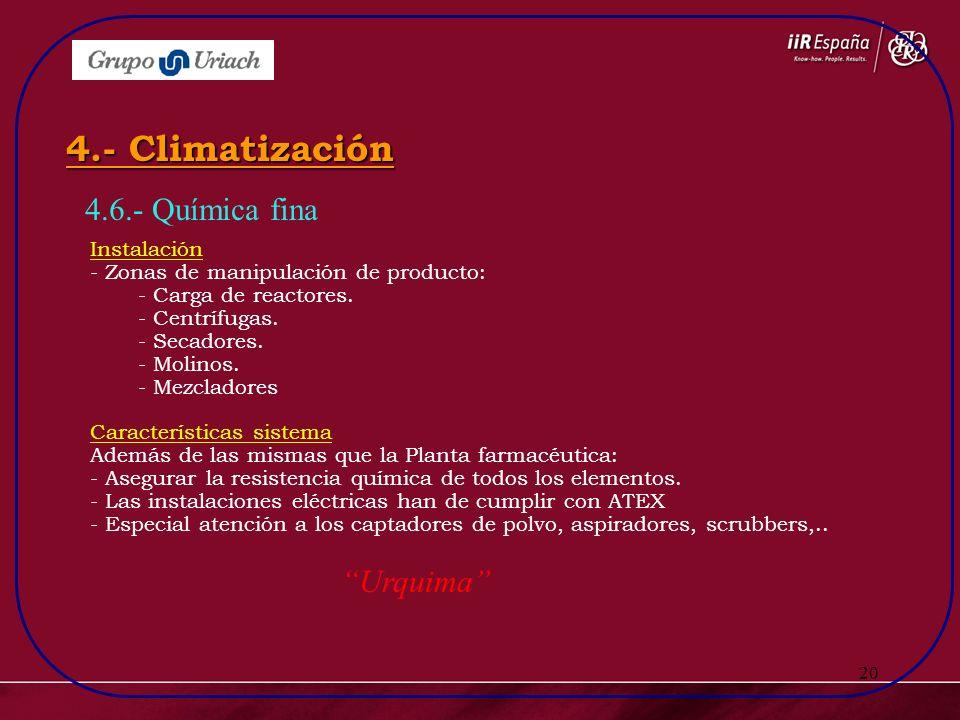 20 4.6.- Química fina 4.- Climatización Instalación - Zonas de manipulación de producto: - Carga de reactores. - Centrífugas. - Secadores. - Molinos.