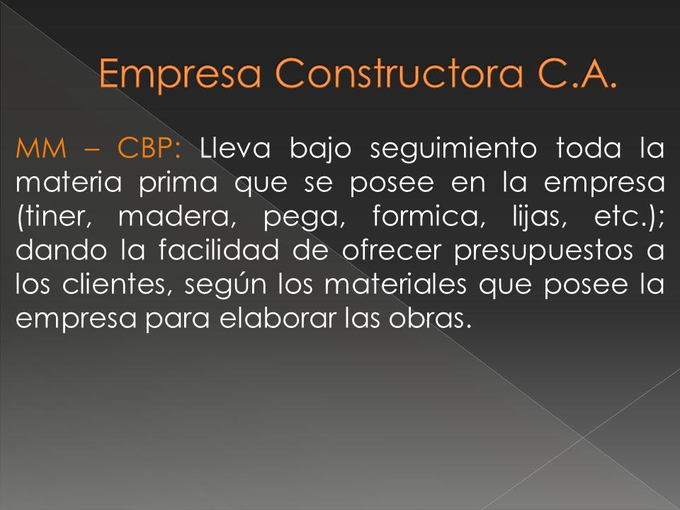 MM – CBP: Lleva bajo seguimiento toda la materia prima que se posee en la empresa (tiner, madera, pega, formica, lijas, etc.); dando la facilidad de o