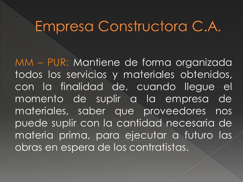 MM – PUR: Mantiene de forma organizada todos los servicios y materiales obtenidos, con la finalidad de, cuando llegue el momento de suplir a la empres