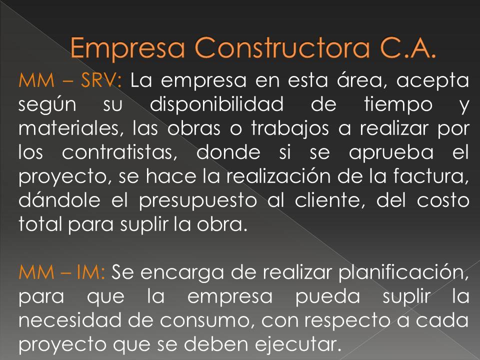 MM – SRV: La empresa en esta área, acepta según su disponibilidad de tiempo y materiales, las obras o trabajos a realizar por los contratistas, donde