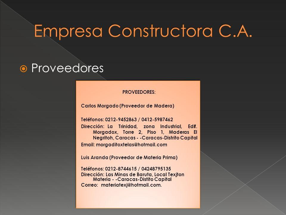 Proveedores PROVEEDORES: Carlos Morgado (Proveedor de Madera) Teléfonos: 0212-9452863 / 0412-5987462 Dirección:La Trinidad, zona Industrial, Edif. Mor