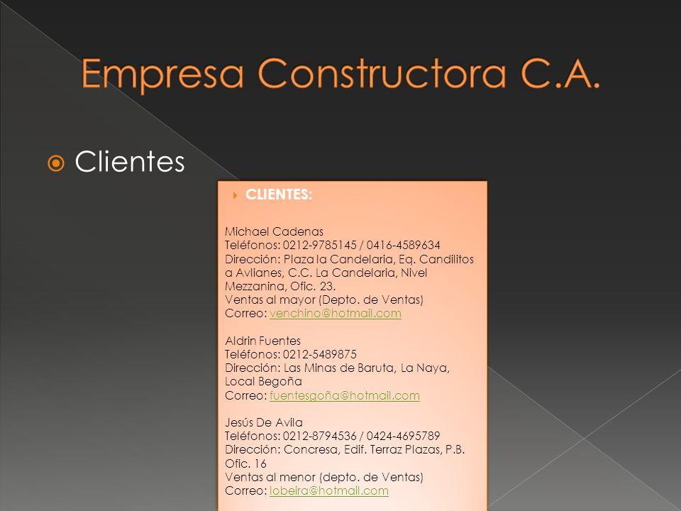 Clientes CLIENTES: Michael Cadenas Teléfonos: 0212-9785145 / 0416-4589634 Dirección: Plaza la Candelaria, Eq. Candilitos a Avlianes, C.C. La Candelari