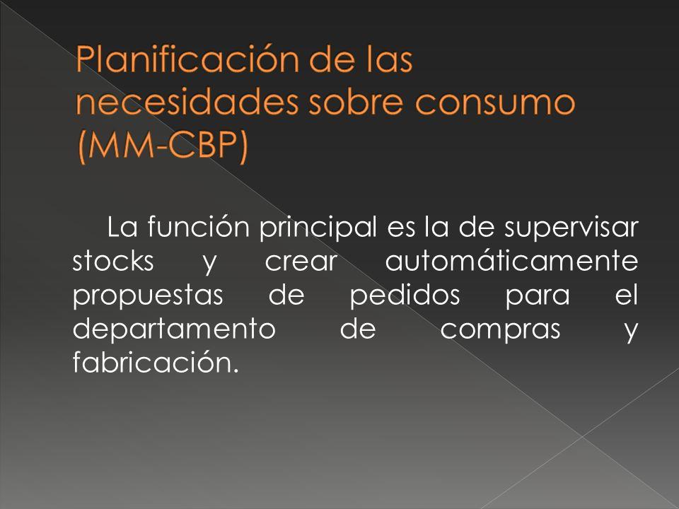 La función principal es la de supervisar stocks y crear automáticamente propuestas de pedidos para el departamento de compras y fabricación.