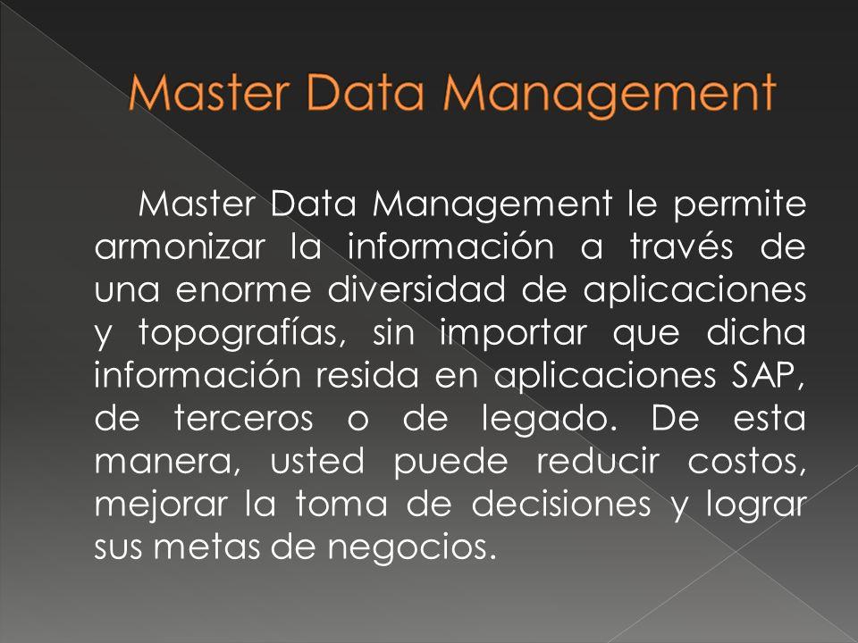 Master Data Management le permite armonizar la información a través de una enorme diversidad de aplicaciones y topografías, sin importar que dicha inf