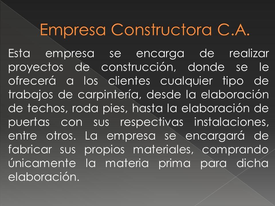 Esta empresa se encarga de realizar proyectos de construcción, donde se le ofrecerá a los clientes cualquier tipo de trabajos de carpintería, desde la