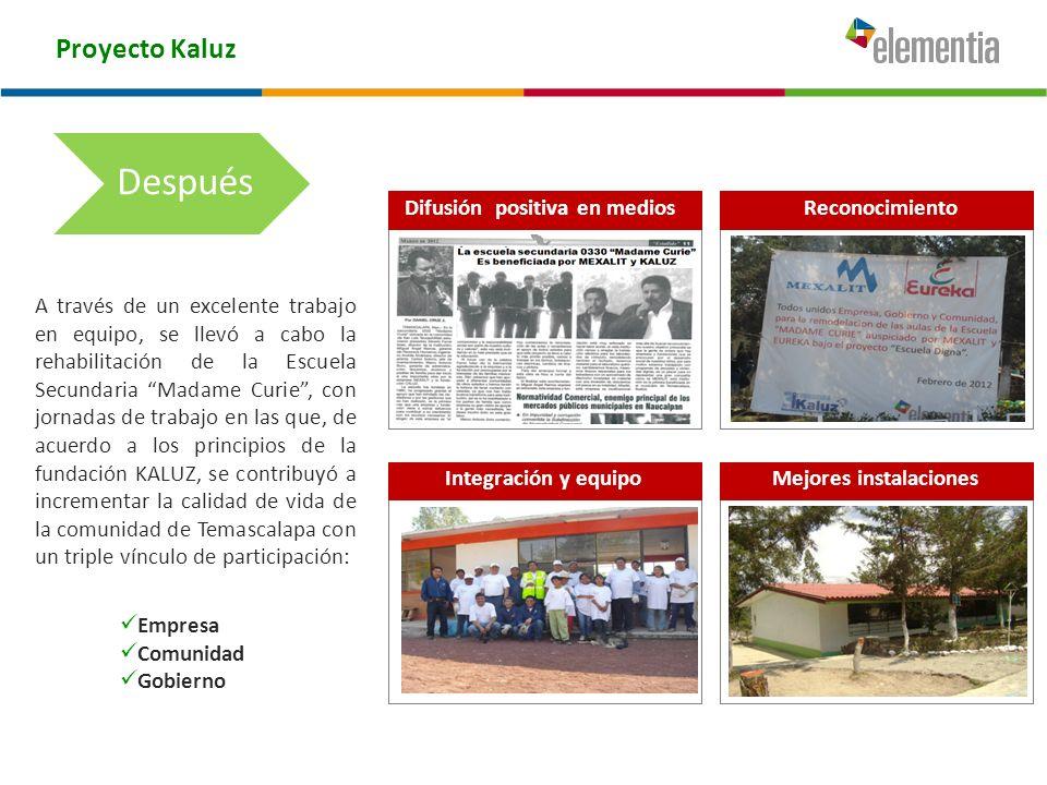 Proyecto Kaluz A través de un excelente trabajo en equipo, se llevó a cabo la rehabilitación de la Escuela Secundaria Madame Curie, con jornadas de tr