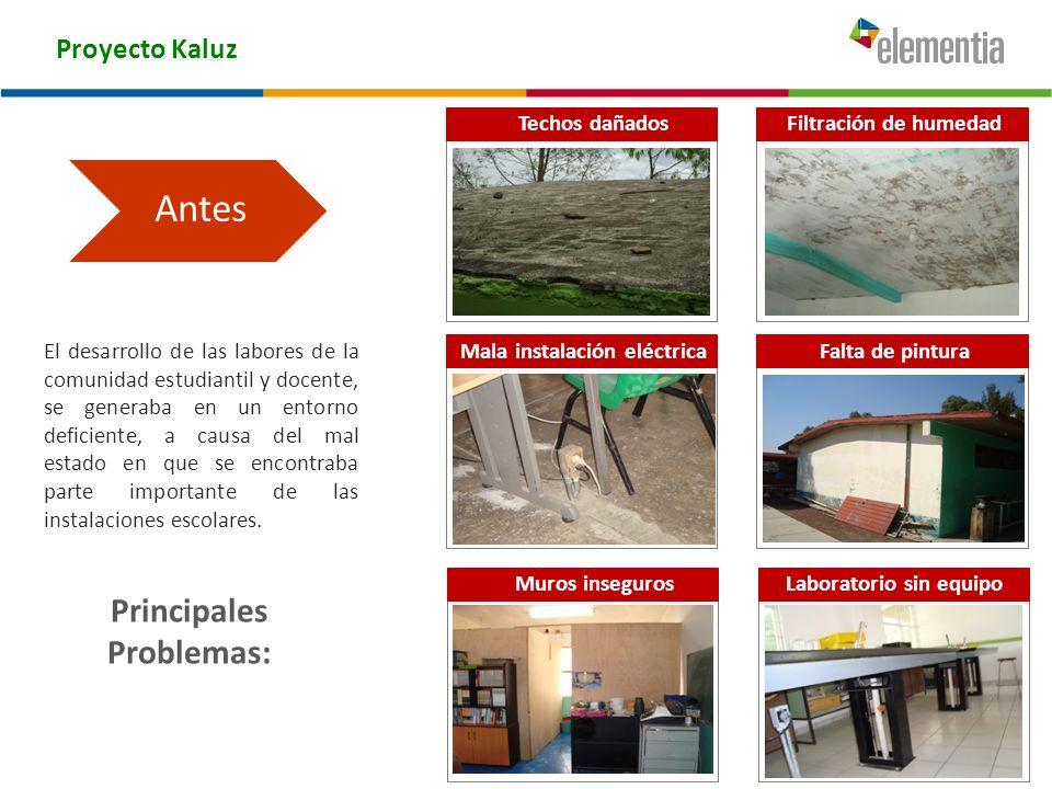 Proyecto Kaluz Principales Problemas: El desarrollo de las labores de la comunidad estudiantil y docente, se generaba en un entorno deficiente, a caus