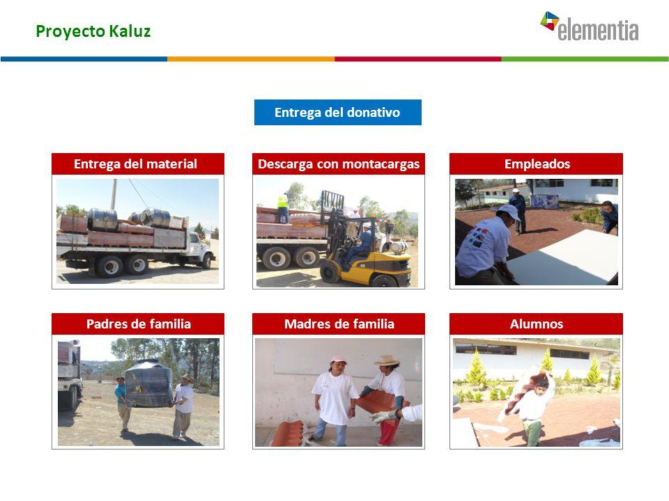 Proyecto Kaluz Descarga con montacargasEmpleados Madres de familiaAlumnos Entrega del donativo Entrega del material Padres de familia