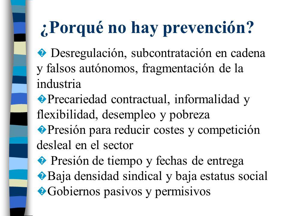 ¿Porqué no hay prevención? Desregulación, subcontratación en cadena y falsos autónomos, fragmentación de la industria Precariedad contractual, informa