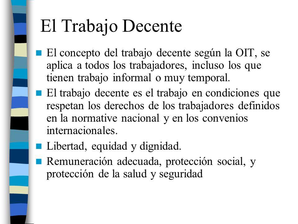 El Trabajo Decente El concepto del trabajo decente según la OIT, se aplica a todos los trabajadores, incluso los que tienen trabajo informal o muy tem
