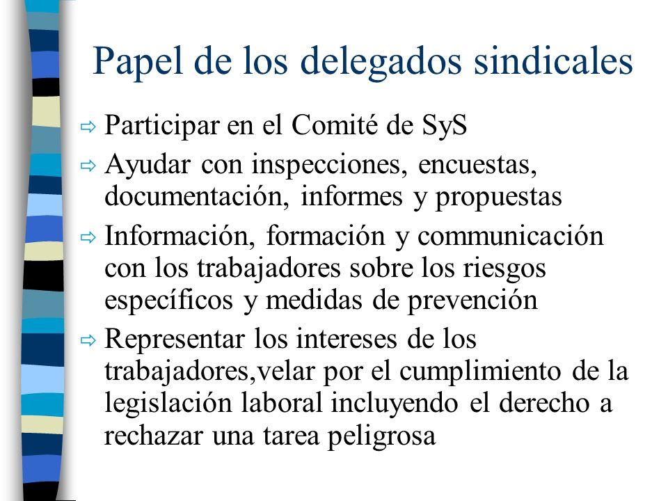 Papel de los delegados sindicales Participar en el Comité de SyS Ayudar con inspecciones, encuestas, documentación, informes y propuestas Información,