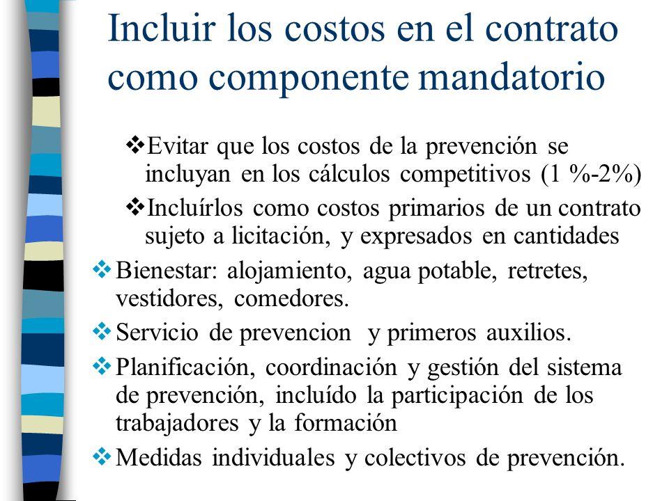 Incluir los costos en el contrato como componente mandatorio Evitar que los costos de la prevención se incluyan en los cálculos competitivos (1 %-2%)