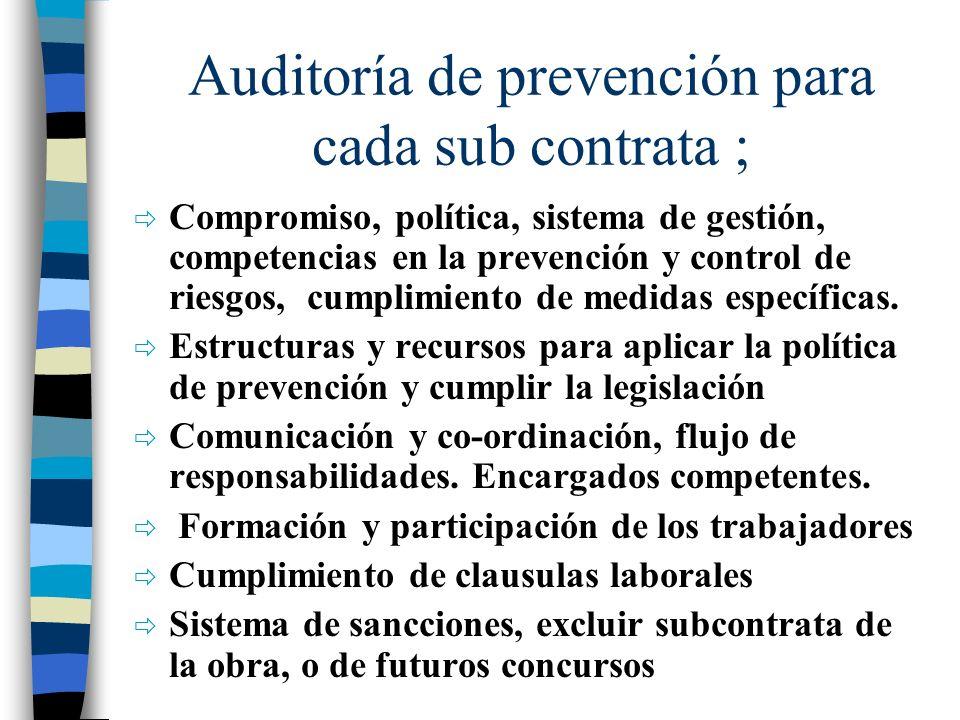 Auditoría de prevención para cada sub contrata ; Compromiso, política, sistema de gestión, competencias en la prevención y control de riesgos, cumplim