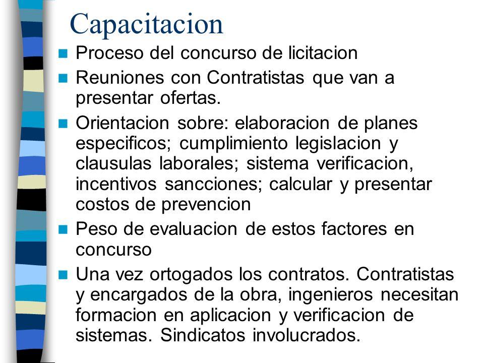 Capacitacion Proceso del concurso de licitacion Reuniones con Contratistas que van a presentar ofertas. Orientacion sobre: elaboracion de planes espec