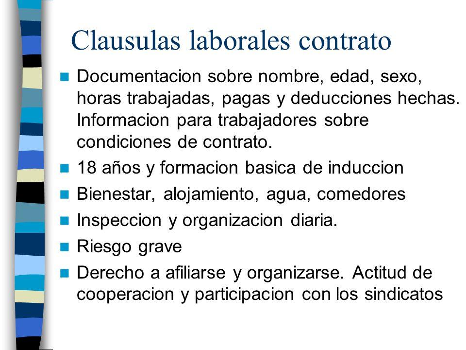 Clausulas laborales contrato Documentacion sobre nombre, edad, sexo, horas trabajadas, pagas y deducciones hechas. Informacion para trabajadores sobre