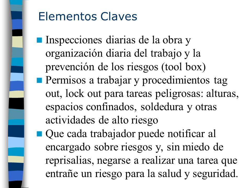 Elementos Claves Inspecciones diarias de la obra y organización diaria del trabajo y la prevención de los riesgos (tool box) Permisos a trabajar y pro