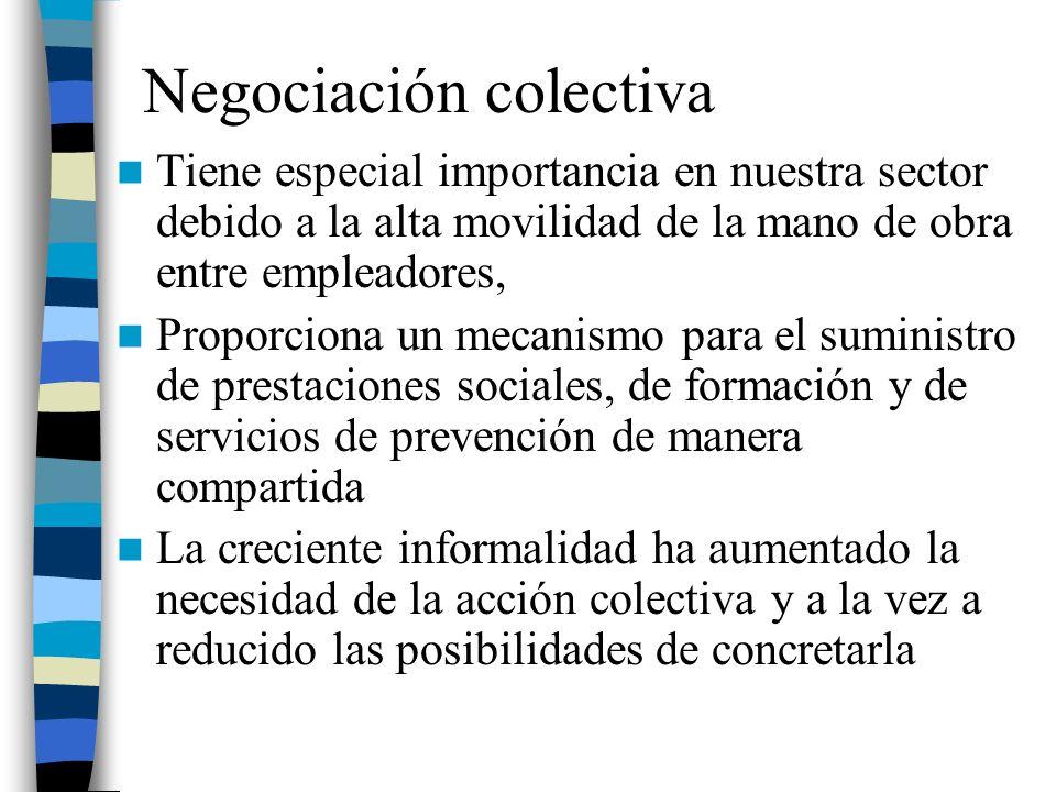 Negociación colectiva Tiene especial importancia en nuestra sector debido a la alta movilidad de la mano de obra entre empleadores, Proporciona un mec