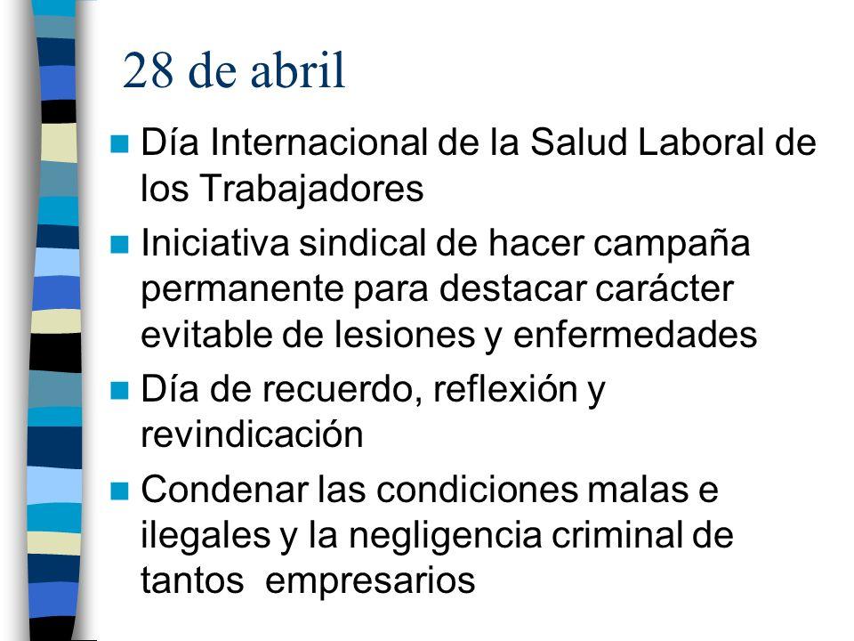 28 de abril Día Internacional de la Salud Laboral de los Trabajadores Iniciativa sindical de hacer campaña permanente para destacar carácter evitable