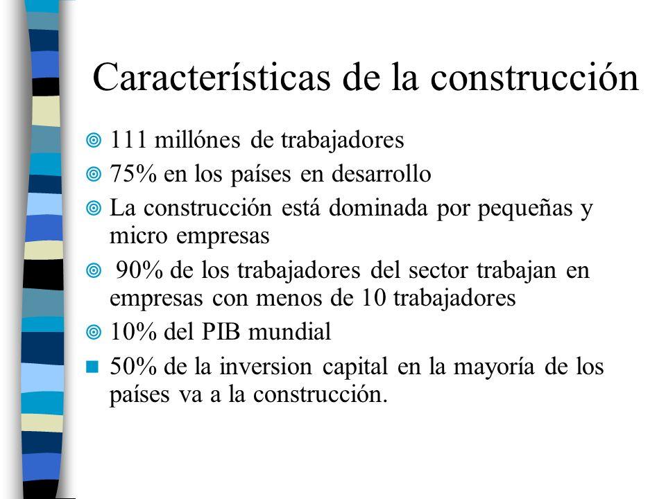 Características de la construcción 111 millónes de trabajadores 75% en los países en desarrollo La construcción está dominada por pequeñas y micro emp