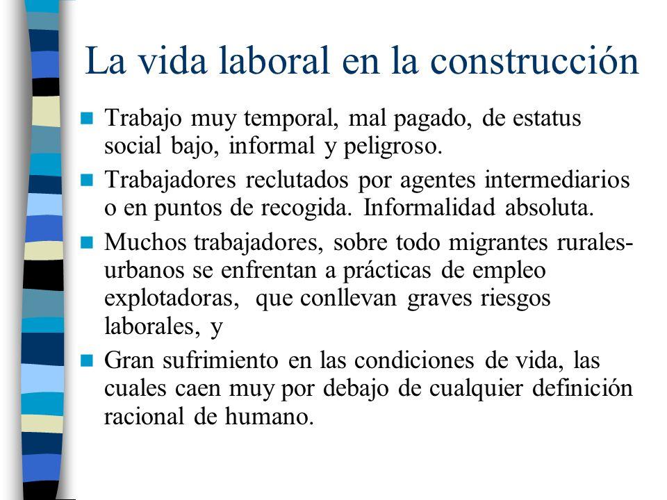 La vida laboral en la construcción Trabajo muy temporal, mal pagado, de estatus social bajo, informal y peligroso. Trabajadores reclutados por agentes