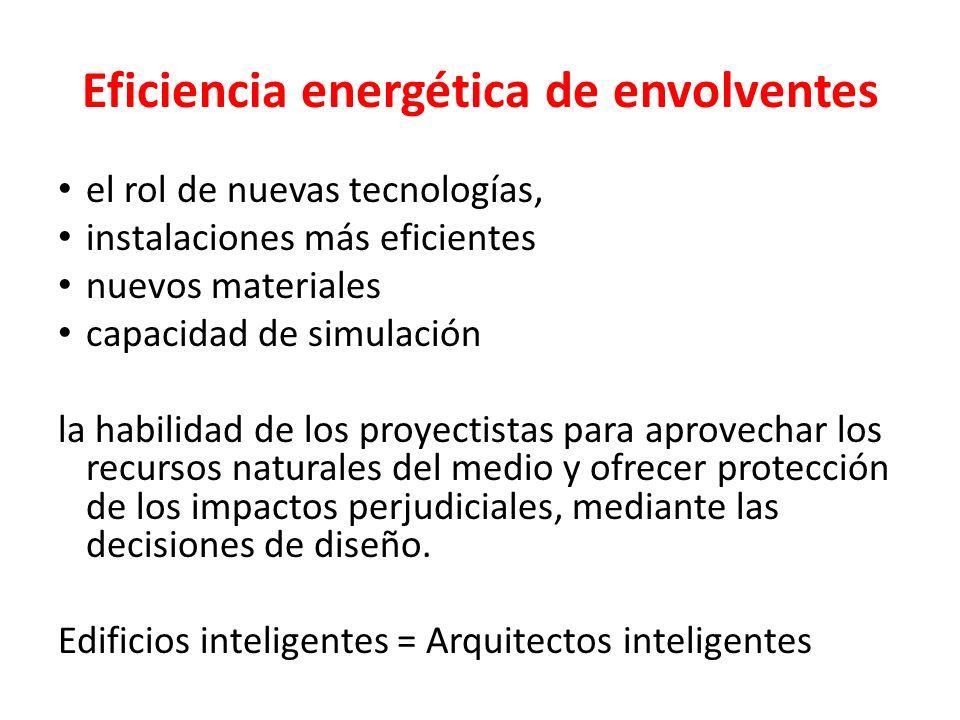 Eficiencia energética de envolventes el rol de nuevas tecnologías, instalaciones más eficientes nuevos materiales capacidad de simulación la habilidad
