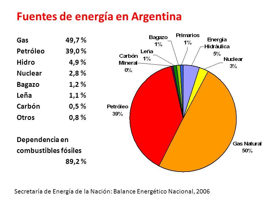 Fuentes de energía en Argentina Gas 49,7 % Petróleo 39,0 % Hidro 4,9 % Nuclear 2,8 % Bagazo 1,2 % Leña 1,1 % Carbón 0,5 % Otros 0,8 % Dependencia en c