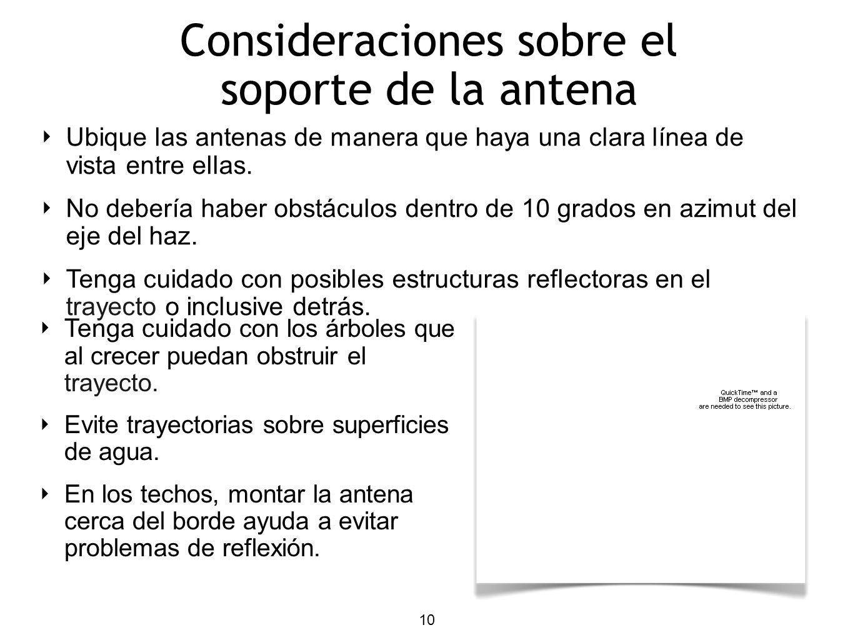 10 Ubique las antenas de manera que haya una clara línea de vista entre ellas. No debería haber obstáculos dentro de 10 grados en azimut del eje del h