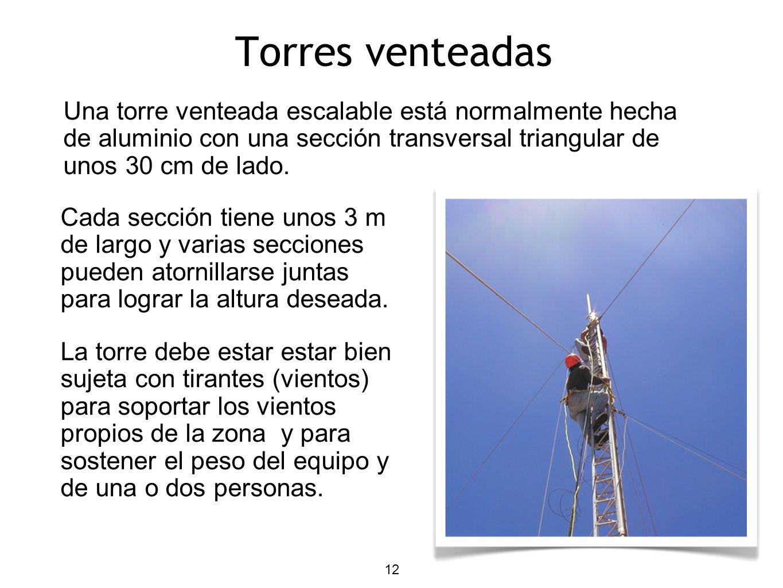 12 Torres venteadas Una torre venteada escalable está normalmente hecha de aluminio con una sección transversal triangular de unos 30 cm de lado. Cada