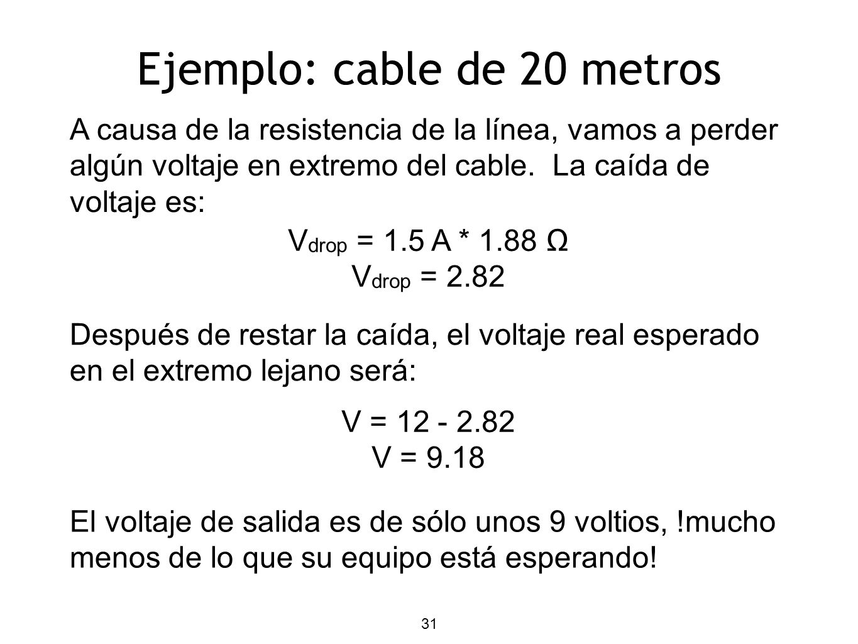 Ejemplo: cable de 20 metros A causa de la resistencia de la línea, vamos a perder algún voltaje en extremo del cable. La caída de voltaje es: V drop =