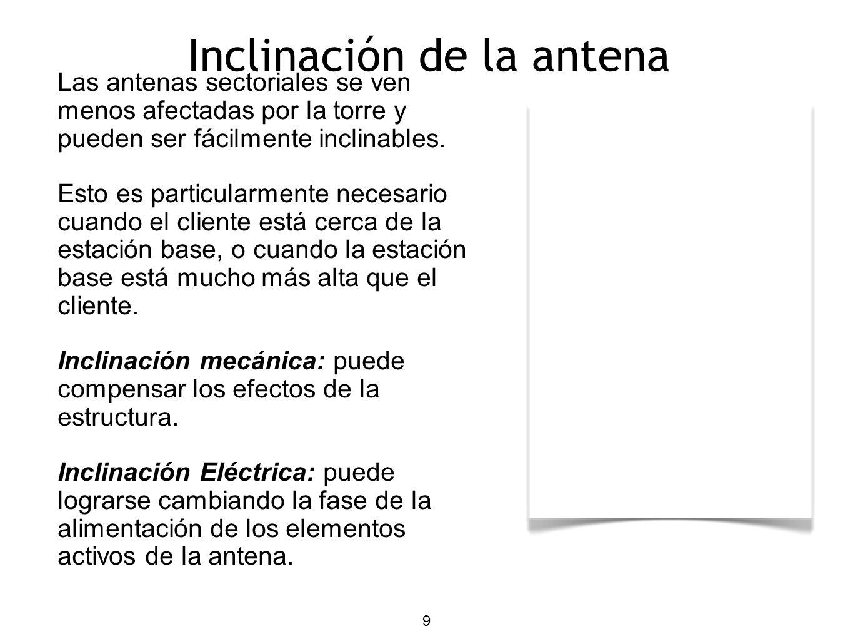 9 Las antenas sectoriales se ven menos afectadas por la torre y pueden ser fácilmente inclinables. Esto es particularmente necesario cuando el cliente