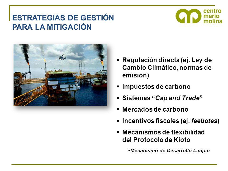ESTRATEGIAS DE GESTIÓN PARA LA MITIGACIÓN Regulación directa (ej.