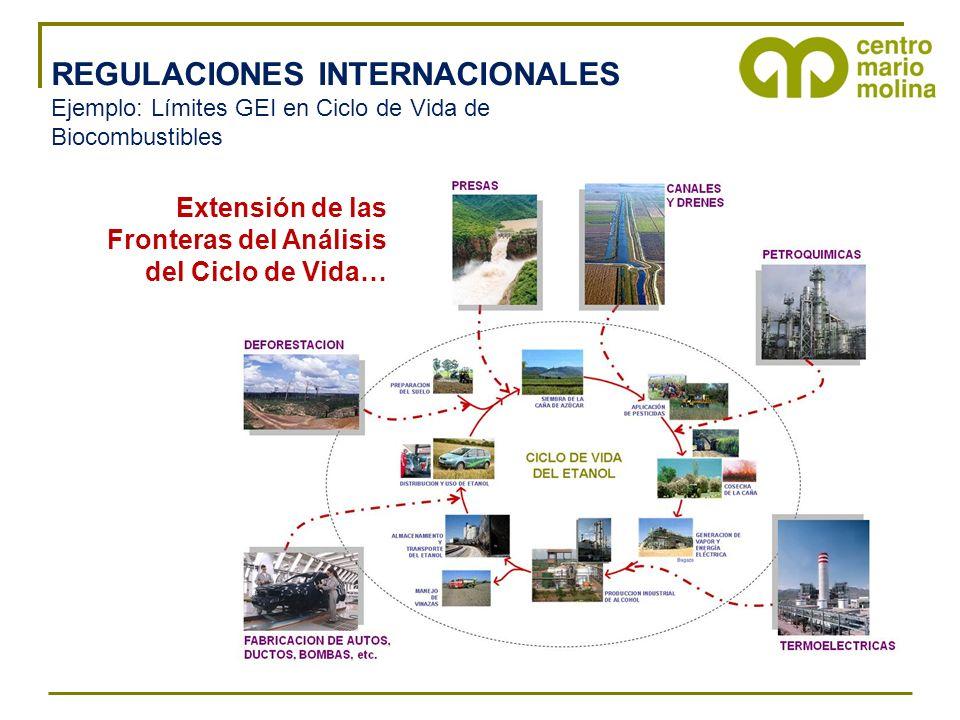 REGULACIONES INTERNACIONALES Ejemplo: Límites GEI en Ciclo de Vida de Biocombustibles Extensión de las Fronteras del Análisis del Ciclo de Vida…