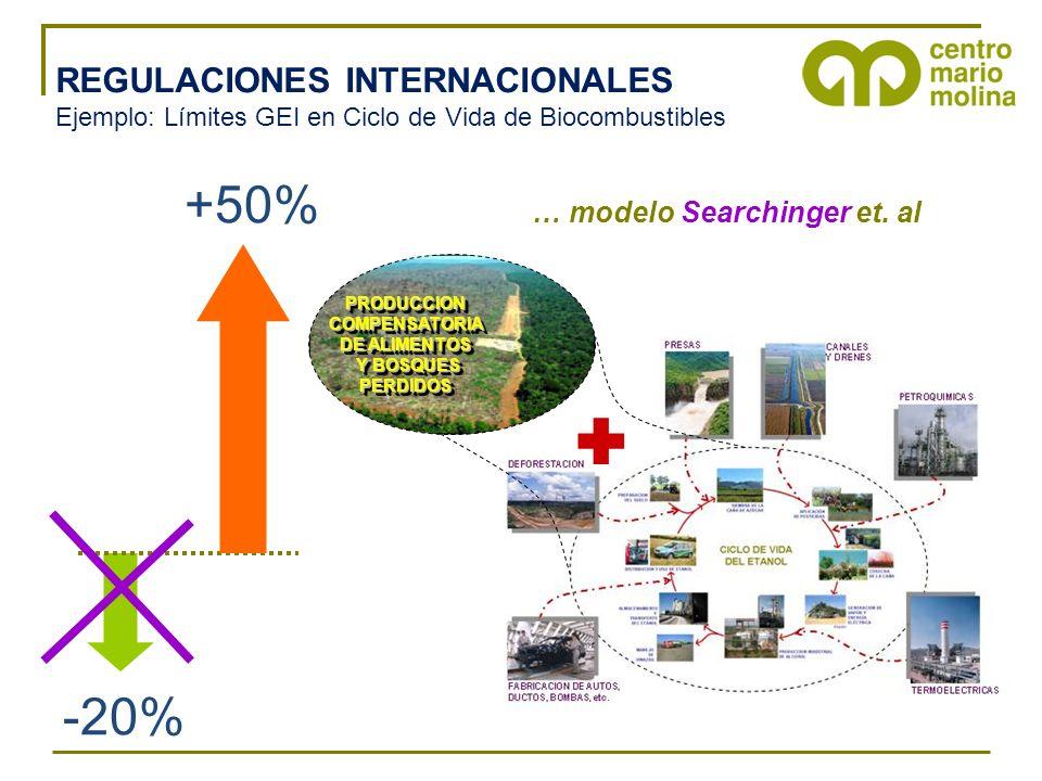 REGULACIONES INTERNACIONALES Ejemplo: Límites GEI en Ciclo de Vida de Biocombustibles PRODUCCIONCOMPENSATORIA DE ALIMENTOS Y BOSQUES Y BOSQUESPERDIDOSPRODUCCIONCOMPENSATORIA DE ALIMENTOS Y BOSQUES Y BOSQUESPERDIDOS +50% -20% … modelo Searchinger et.
