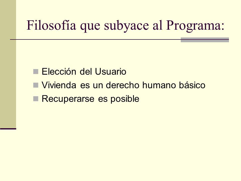 13 Filosofía que subyace al Programa: Elección del Usuario Vivienda es un derecho humano básico Recuperarse es posible